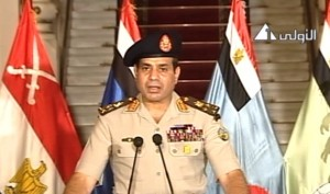 General Sisi announcing the military coup that ousted President Mohammed Morsi
