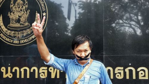Thai journalist Pravit Rojanaphruk demonstrating in opposition to the May 22nd military coup