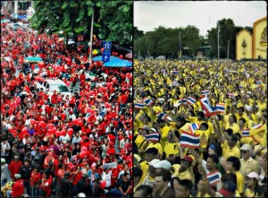 Red Shirt and Yellow Shirt protests in Bangkok in February