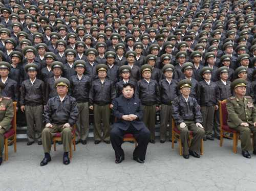Supreme Leader of North Korea, Kim Jong-un in front of military leaders