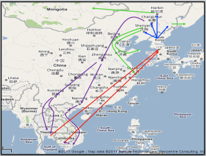 Map showing common routes taken by North Korean defectors