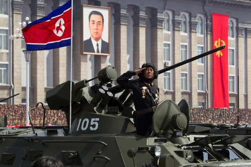 North Korean soldier commemorating the 100 year anniversary of Kim il-Song's birth, 2012